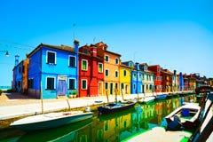 威尼斯地标, Burano运河。意大利 免版税库存照片