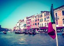威尼斯大运河葡萄酒明信片  免版税库存图片