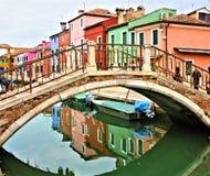 威尼斯安置coulors,色的burano小岛 库存照片