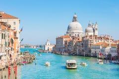 威尼斯市和大运河在威尼斯,意大利 免版税图库摄影