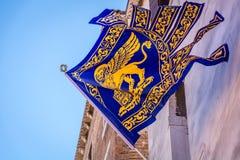 威尼斯市,意大利旗子  库存照片