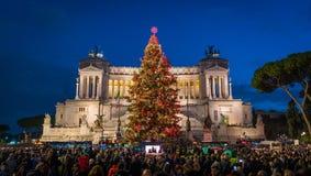 威尼斯广场在圣诞节期间的罗马2018年 意大利 免版税库存照片