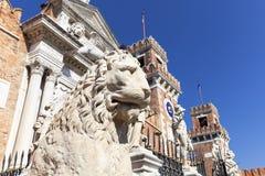 威尼斯式前造船厂武库、复合体和军械库,石狮子,威尼斯,意大利 库存图片
