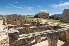 威尼斯式城堡Fortezza的废墟在罗希姆诺,克利特 库存图片