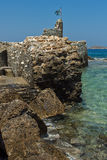 威尼斯式堡垒在Naousa镇,帕罗斯岛海岛,基克拉泽斯 免版税库存图片