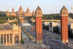 威尼斯式塔,巴塞罗那,西班牙艺术博物馆  库存照片