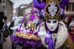 威尼斯式狂欢节,阿讷西,法国 免版税库存照片