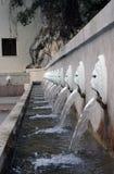 威尼斯式狮子头喷泉, Spili,克利特,希腊 库存照片