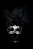 威尼斯式黑色狂欢节屏蔽的银 库存图片