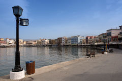 威尼斯式chania的港口 免版税库存照片