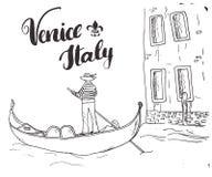 威尼斯意大利手拉的剪影乱画平底船的船夫和在手写的标志,难看的东西书法文本上写字 也corel凹道例证向量 向量例证