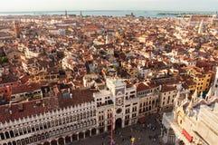 威尼斯意大利 从高塔的广角看法 免版税库存照片