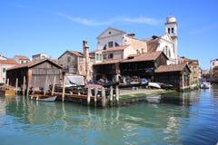 威尼斯意大利Squero  免版税库存照片