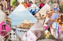 威尼斯明信片,套从著名意大利城市的不同的旅行照片 库存照片