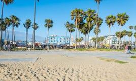 威尼斯海滩,太平洋的海岸 游人和休闲娱乐中心在洛杉矶,加利福尼亚 免版税库存图片