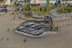 威尼斯海滩冰鞋公园下午天线在洛杉矶 免版税库存照片