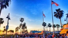 威尼斯海滩日落 免版税库存图片