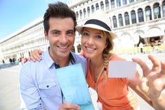 威尼斯游览的旅游证件 库存图片
