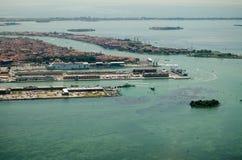 威尼斯游轮船坞,鸟瞰图 库存照片
