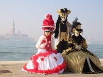 威尼斯狂欢节三夫人 图库摄影