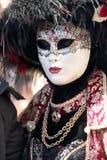 威尼斯狂欢节的被掩没的妇女  库存照片