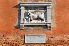 威尼斯的标志,圣马克飞过的狮子  免版税库存图片