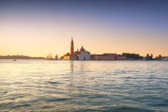 威尼斯盐水湖,日出的圣乔治教会 意大利 库存照片