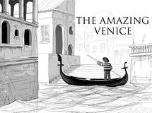 威尼斯运河,长平底船剪影 库存图片