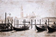 威尼斯,在减速火箭的样式的艺术品 免版税图库摄影