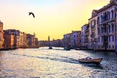 威尼斯,在威尼斯大石桥桥梁附近的美丽的景色大运河  库存照片