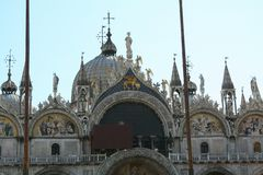 威尼斯,大教堂二圣马尔谷教堂,门面的高马赛克 库存图片