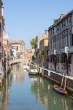 威尼斯,威尼托,意大利 里约圣卡塔琳娜州运河, Cannaregio 免版税库存图片