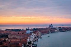 威尼斯,意大利日落  库存照片