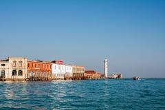 威尼斯,意大利, 2017年2月14日 威尼斯市意大利 在Murano海岛上的看法 威尼斯式的横向 图库摄影