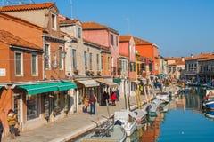 威尼斯,意大利, 2017年2月14日 威尼斯市意大利 在Murano海岛上的看法 威尼斯式的横向 库存图片