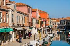 威尼斯,意大利, 2017年2月14日 威尼斯市意大利 在Murano海岛上的看法 威尼斯式的横向 库存照片