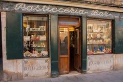 威尼斯,意大利, 2017年2月14日 威尼斯市意大利 威尼斯式传统Backery酒吧 免版税库存图片