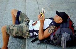 威尼斯,意大利:旅游阅读书 免版税库存图片