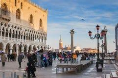 威尼斯,意大利- 2009年。Piazza di圣Marco。共和国总督的宫殿和Bas 库存照片
