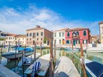 威尼斯,意大利-在Murano海岛的运河中  免版税库存照片