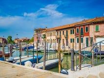 威尼斯,意大利-在Murano海岛的运河中  免版税图库摄影