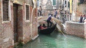 威尼斯,意大利- 2017年10月:庄严运河在威尼斯,威尼斯,意大利 在一条运河的长平底船在Venezia意大利 威尼斯是 影视素材