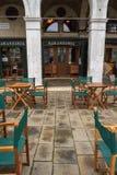 威尼斯,意大利- 2018年12月:Naranzaria餐馆 在威尼斯大石桥桥梁附近的一家威尼斯式餐馆在威尼斯 免版税库存图片