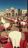 威尼斯,意大利- 2017年8月14日:圣马可广场的餐馆在威尼斯 库存照片