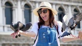 威尼斯,意大利- 2018年7月7日:愉快的妇女,游人画象,拿着鸽子,哺养,使用与他们,获得乐趣  股票录像