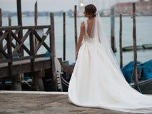 威尼斯,意大利- 2017年10月8日:美好的婚礼在威尼斯,新娘后面景色 免版税库存照片