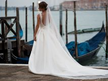 威尼斯,意大利- 2017年10月8日:美好的婚礼在威尼斯,新娘后面景色 免版税库存图片