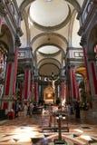 威尼斯,意大利- 2017年8月14日:ss萨尔瓦托雷教会的内部  免版税库存照片