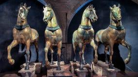 威尼斯,意大利- 2015年2月18日:圣马克的大教堂马在威尼斯 库存照片