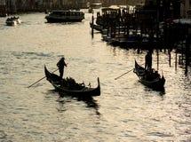 威尼斯,意大利- 2017年3月2日:大运河在晚上 库存照片
